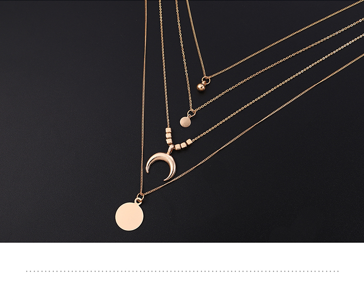 European and American national style personality new moon round multi-layer necklace (imitation champagne alloy) NHNPS5863