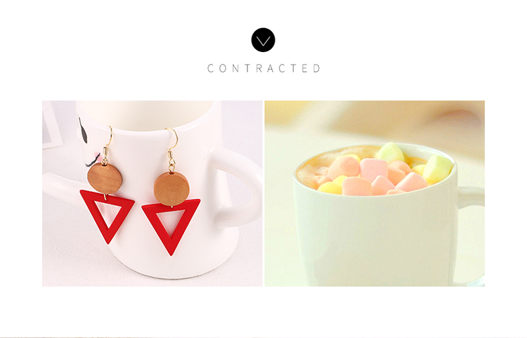 Korean version of alloy-plated temperament fashion simple and versatile geometric earrings (red) NHNPS5941