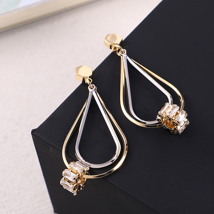 Japanese and Korean style alloy creative small and delicate wild water drops S925 alloy needle earrings (14k) NHNPS6069