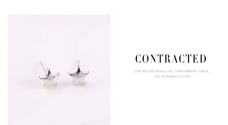Korean version of the creative wild five-pointed star S925 alloy needle set earrings (Platinum) NHNPS6192