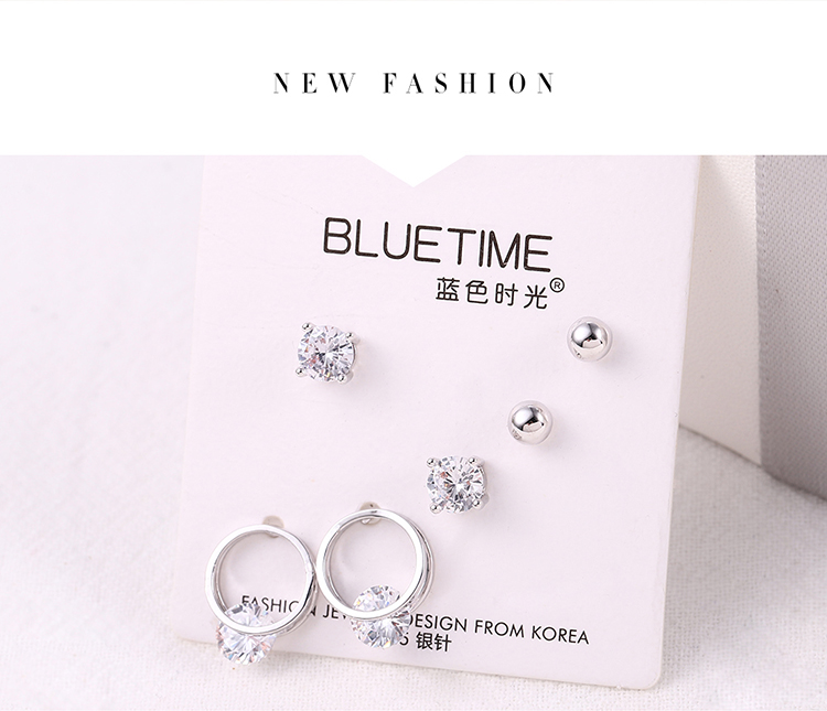 Japanese and Korean Fan Simple Small Fresh S925 Alloy Needle Set Earrings (Platinum) NHNPS6191