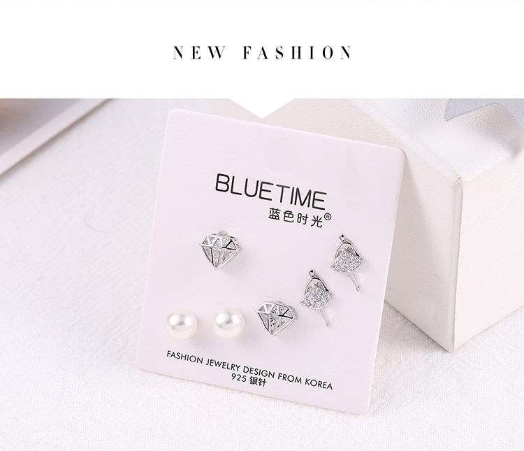 Japanese and Korean style small fresh dance girl S925 alloy needle set earrings (platinum) NHNPS6189