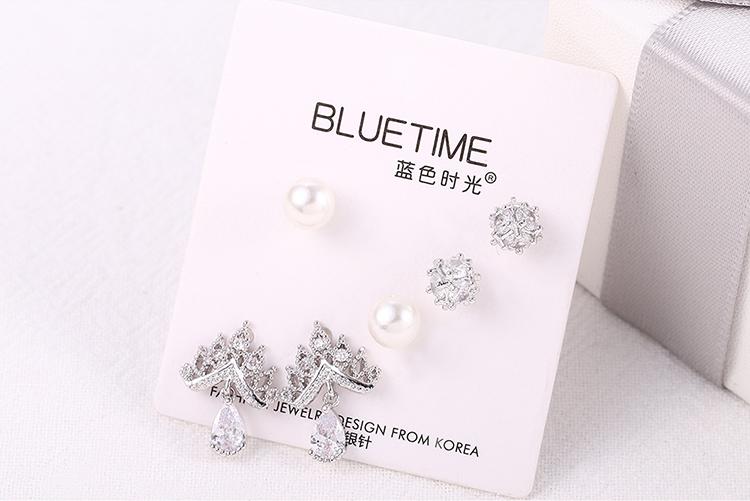 Korean version of the trendy simple S925 alloy needle set earrings (Platinum) NHNPS6186