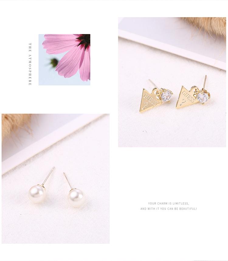 Japanese and Korean fashion people wild creative S925 alloy needle set earrings (14K) NHNPS6183