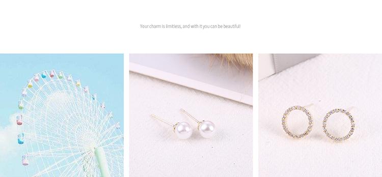 Korean version of the simple and versatile small fresh geometric S925 alloy needle set earrings (14K) NHNPS6182