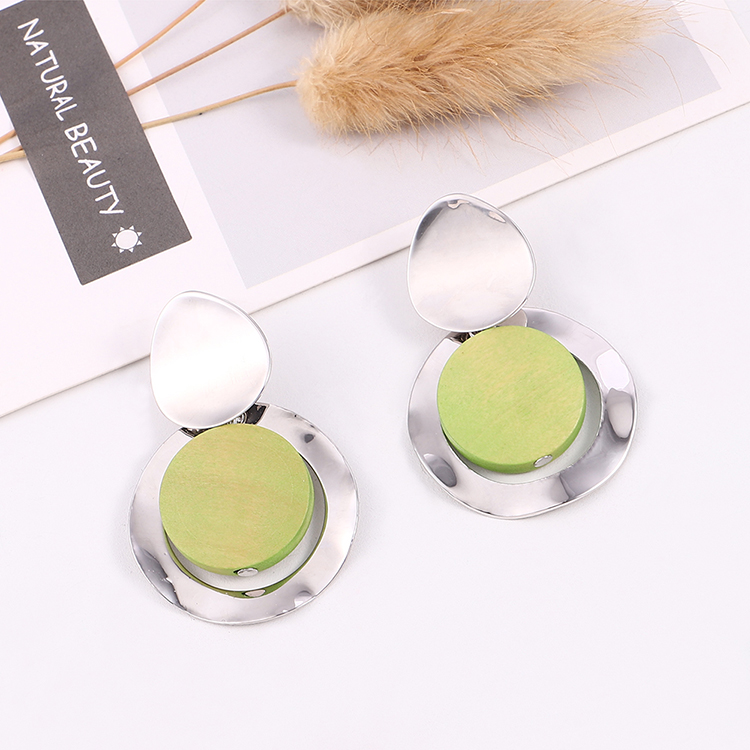 Korean version of alloy-plated temperament sweet candy color round S925 alloy needle earrings (red) NHNPS6123
