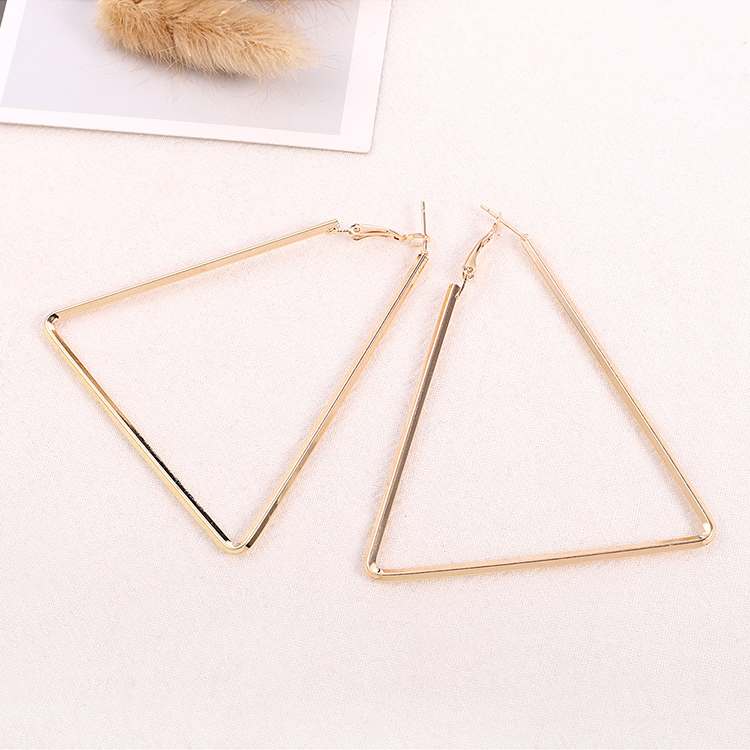 Europe and the United States simple wild hipster Harajuku style triangle earrings (imitation champagne alloy) NHNPS6089