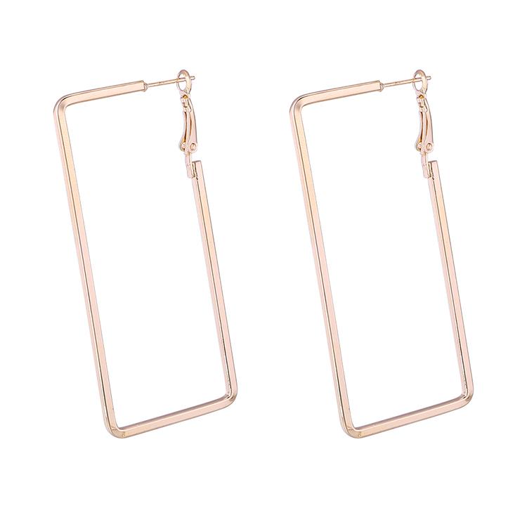 Korean fashion cool street hipsters rectangular earrings (imitation champagne alloy) NHNPS6084