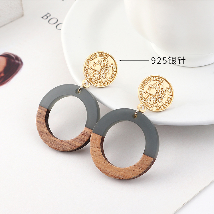 fashion earrings wholesale Real Gold Plated Frosty Wind Seal Circle Hollow S925 Silver Earrings NHPS185103
