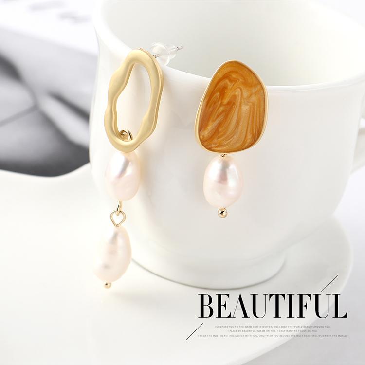 Fashion earrings wholesale real gold asymmetric pearl S925 silver earrings NHPS185098