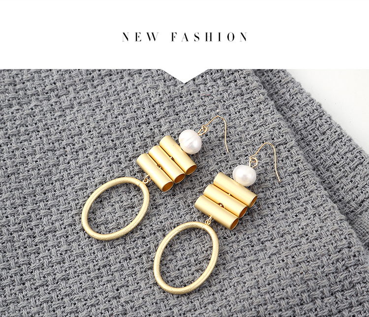 Europe and the United States simple cold wind wild wild gold-plated small trachea ring hollow earrings NHPS185095