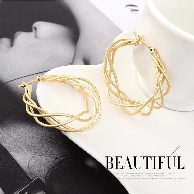 Korean earrings wholesale fashion frosty wind-plated real gold circle hoop mesh hollow earrings NHPS185092
