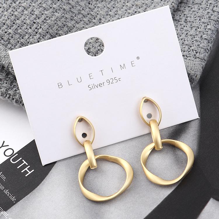 Pendientes de moda al por mayor de oro real plateado círculo hueco S925 pendientes de plata NHPS185089