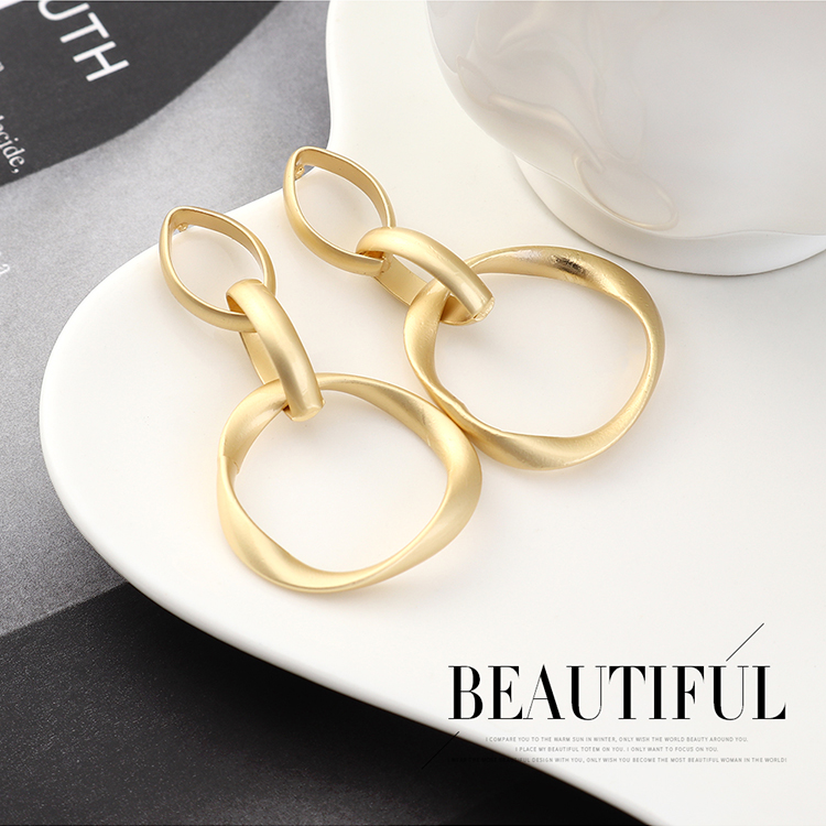 Fashion earrings wholesale real gold plated circle hollow S925 silver earrings NHPS185089