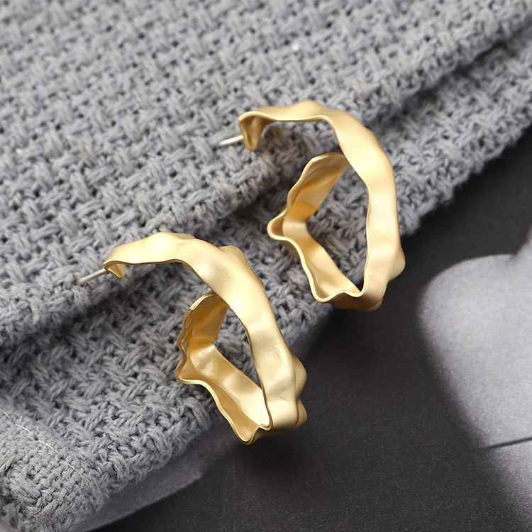 Fashion earrings wholesale cold wind plated real gold hollow S925 silver earrings NHPS185088