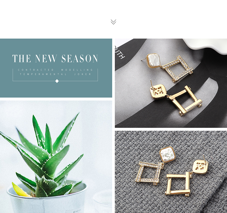 earrings wholesale real gold irregular square hollow S925 silver earrings NHPS185087