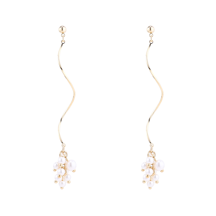 earrings wholesale simple gold-plated spiral pearl S925 silver earrings NHPS185084