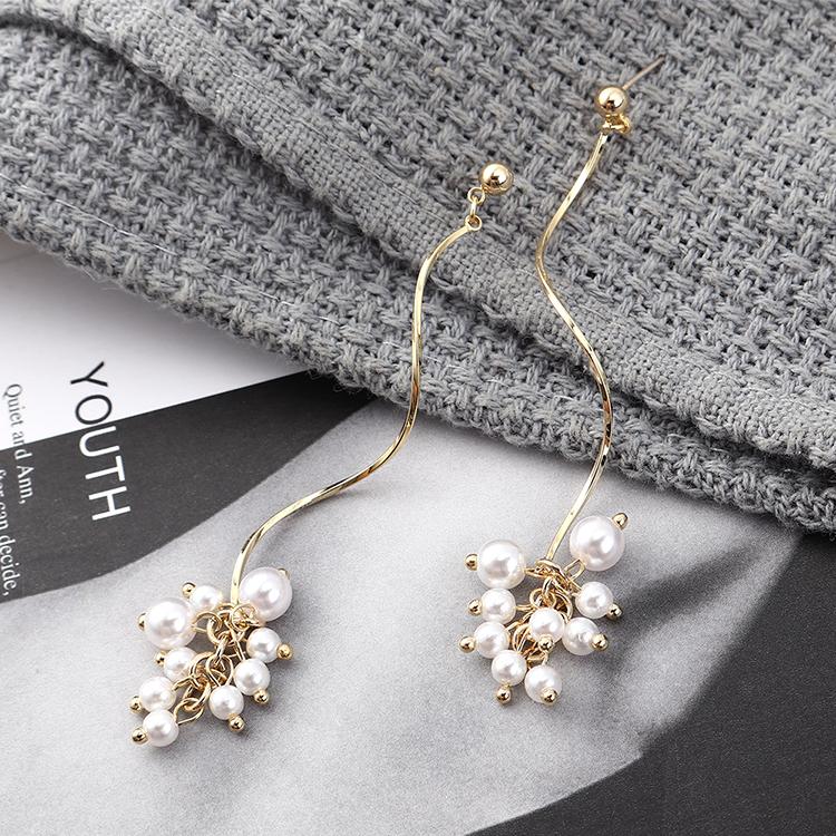 pendientes al por mayor simple perla espiral chapada en oro S925 pendientes de plata NHPS185084