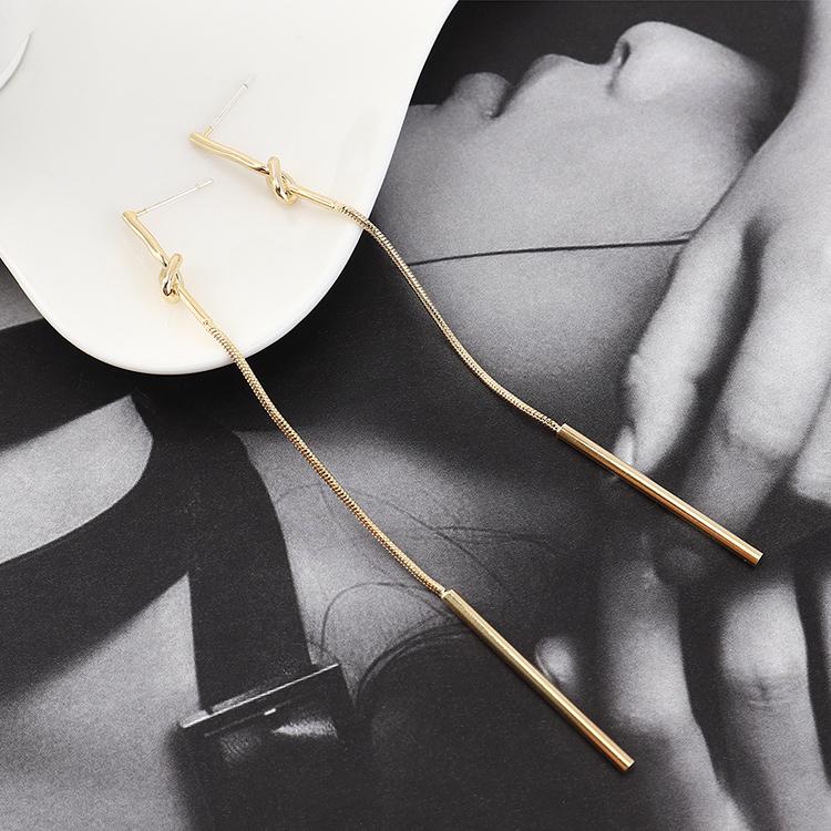 pendientes al por mayor largo simple simple chapado en oro borla pequeña S925 pendientes de plata NHPS185083