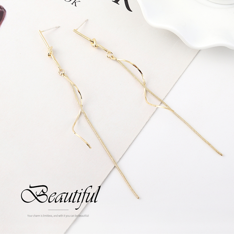 Fashion earrings wholesale long gold-plated spiral tassel S925 silver earrings NHPS185080