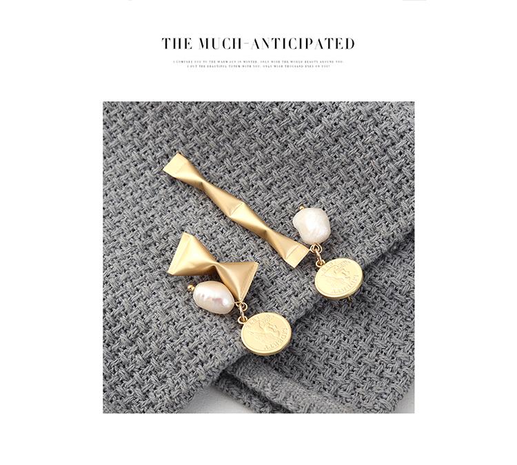 欧美个性夸张时尚镀真金不对称小糖果头像印章S925银针