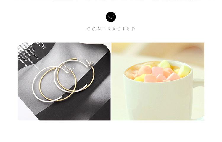 欧美创意时尚复古镀真金冷淡风百搭双圈镂空S925银针