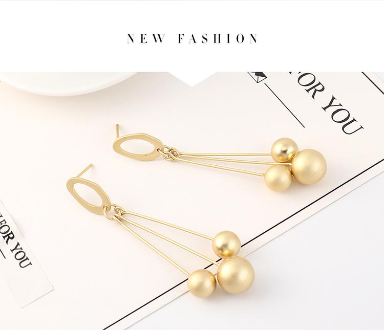 欧美冷淡风时尚个性镀真金百搭流苏珍珠S925银针