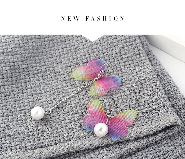 New fashion simple gold plated asymmetric flower butterfly earrings yiwu nihaojewelry wholesale NHPS208049