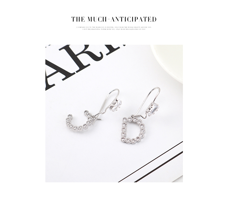 Fashion Gold Plated Simple Letter Pearl S925 Silver Earring Set Wholesale NHPS205264