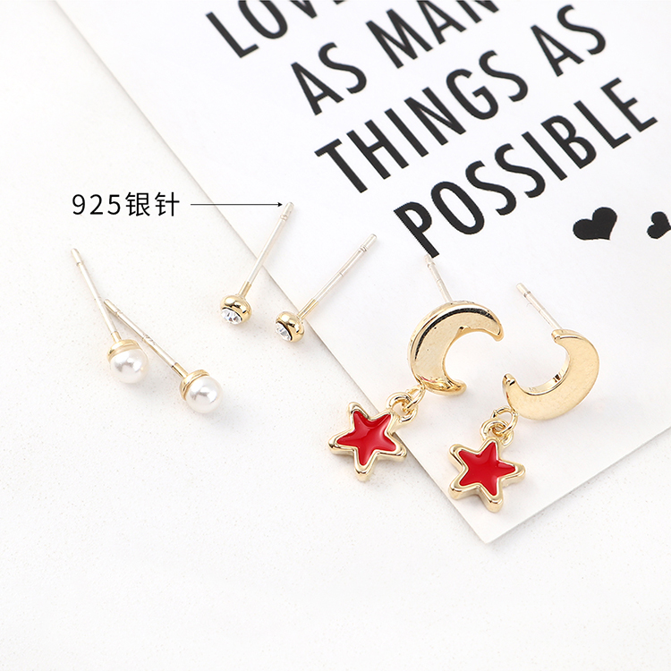 Korean Simple Gold Plated Fashion Star Moon Pearl S925 Silver Earring Set Wholesale NHPS205267