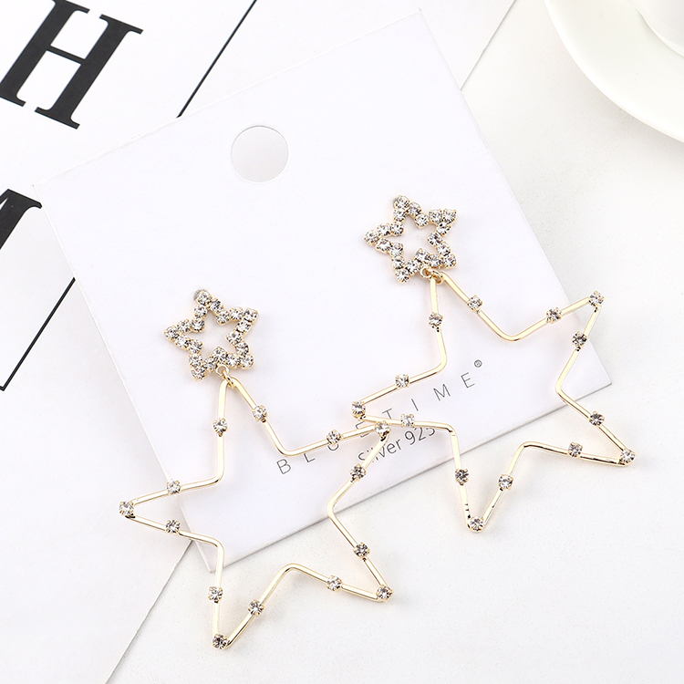 Simple and stylish gold plated stars S925 silver pin earrings wholesale NHPS205270