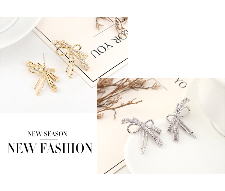 New Fashion Zircon Butterfly Ear Studs Wholesale NHPS205275