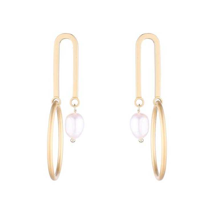 earrings wholesale Simple Real Gold Plated Pearl Hollow S925 Silver Earrings NHPS185065