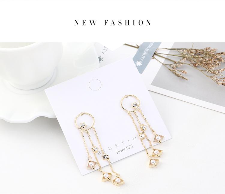 earrings wholesale retro fashion real gold plated wild star curtain pearl tassel S925 silver earrings NHPS185061