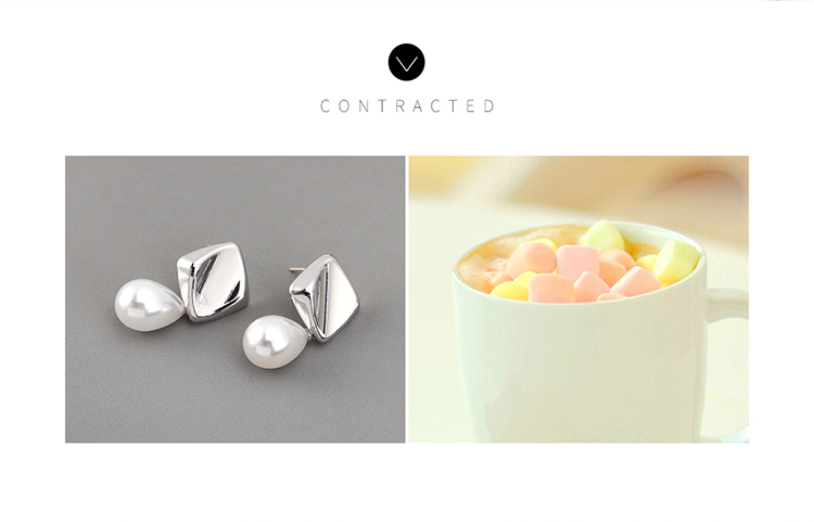 Korean earrings simple creative small fresh gold plated wild retro pearl S925 silver earrings NHPS185057