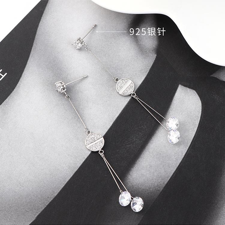 Korean fashion real gold plated wild tassel small round fan S925 silver earrings NHPS185054