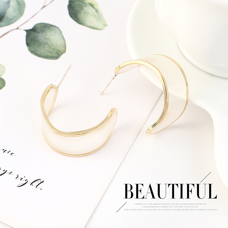 Simple and stylish temperament real goldplated personality wild half month S925 silver earrings NHPS185038
