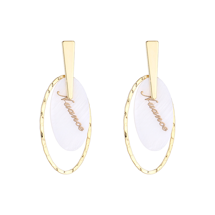 Korean version of simple personality temperament gold-plated fashion wild resin alphabet oval S925 silver needle NHPS185029