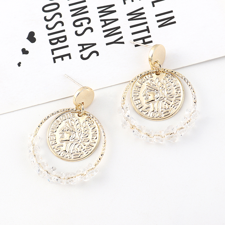 European and American fashion creative wild gold-plated simple personality retro head seal large circle hollow S925 silver needle NHPS185023