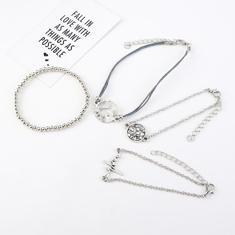 New ECG Ripple Rhinestone Bracelet Set Wholesale NHPS205283