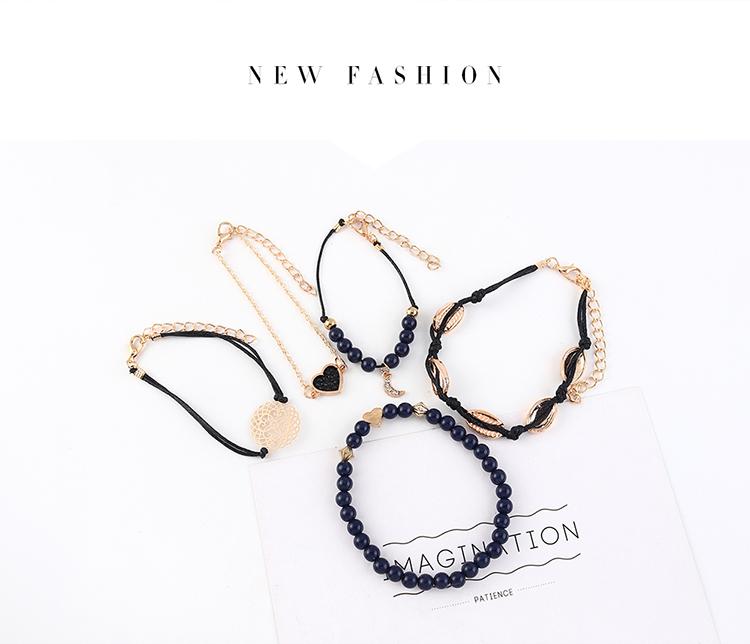 New Retro Fashion Exaggerated Spades Heart Bracelet Set Wholesale NHPS205284