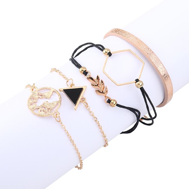 Fashion Retro Triangle Leaf Wild Bracelet Set Wholesale NHPS205286