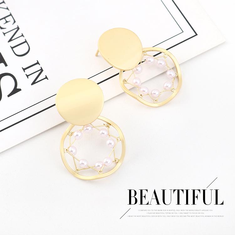 Aretes simples de plata chapados en oro real con perlas huecas S925 NHPS193557