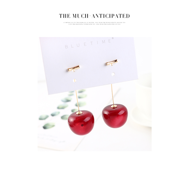 Korean creative fashion exaggerated real gold plated cherry S925 silver earrings NHPS193554