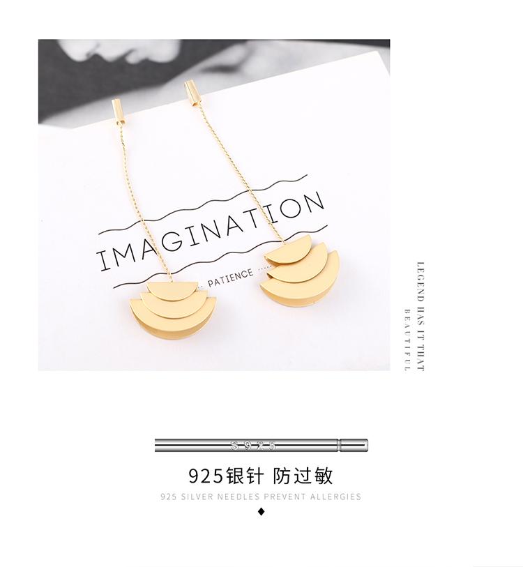 Fashion plated real gold frosty wind long tassel S925 silver earrings NHPS193544
