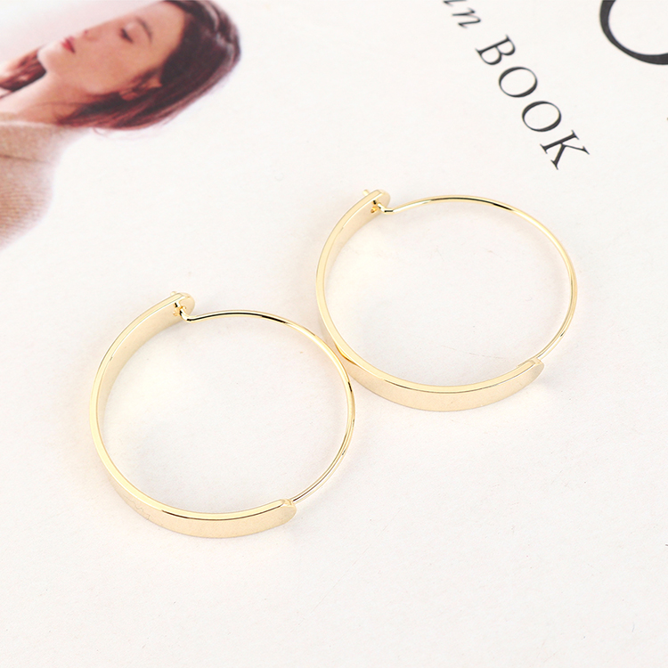 Real goldplated creative wild large circle cutout earrings NHPS193535