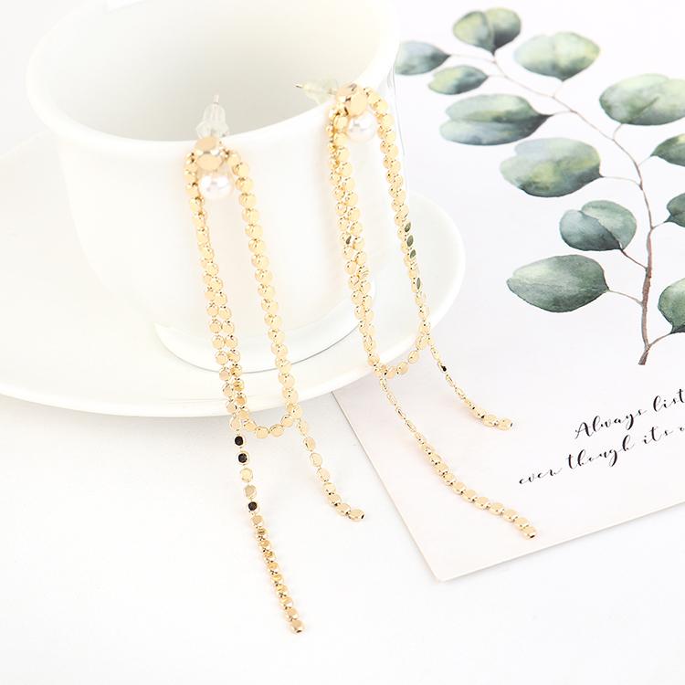 Aretes largos de plata con perlas con flecos dorados S925 NHPS193530
