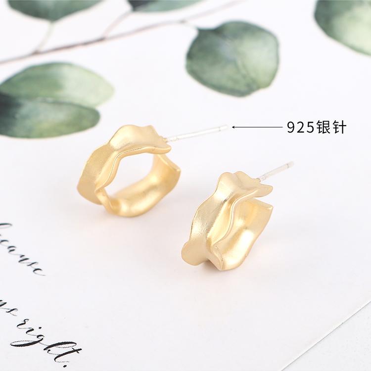 Aretes de plata auténticos minimalistas creativos chapados en oro S925 NHPS193522