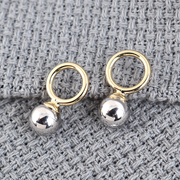 Korean plated real gold retro simple small circle pearl S925 silver earrings NHPS193520