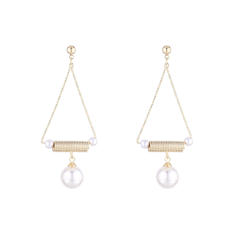 Coreano plateado oro real simple retro perla hueco S925 Aretes de plata NHPS193516